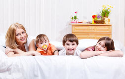 Mother and kids stock images