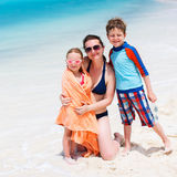 Mother and kids at beach Royalty Free Stock Image