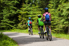 Family biking. Mother and kids biking in forest Royalty Free Stock Images
