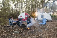 Mother and kids camping Royalty Free Stock Images