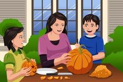 Mother Kids Carving Pumpkins. A vector illustration of Mother carving pumpkins together with her kids at backyard Stock Photography