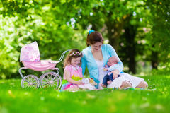 Mother and kids enjoying picnic outdoors. Family with children enjoying picnic outdoors. Mother with newborn baby and toddler child relax in a park. Little girl Royalty Free Stock Image