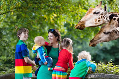 Mother and kids feeding giraffe at the zoo stock image