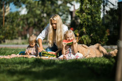 Mother with kids have fun on the grass(in the garden) Stock Photos