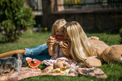 Mother with kids have fun on the grass(in the garden). Mother with kids have fun on the grass stock image