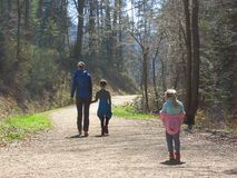 Mother with kids hiking in forest royalty free stock images