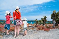 Mother and kids hiking at Galapagos Stock Photo