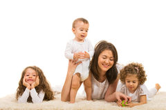 Mother and kids  home Stock Image