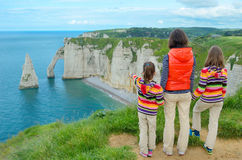 Mother and kids looking at beautiful sea view Royalty Free Stock Photography