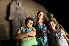Mother with kids at Luxor Temple at night Stock Photography