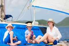 Mother and kids at luxury yacht Royalty Free Stock Photography