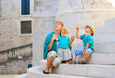Mother with kids in old town Dubrovnik Royalty Free Stock Photos