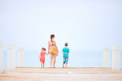 Mother and kids outdoors Royalty Free Stock Photo