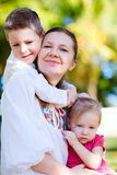 Mother and kids portrait Stock Photos