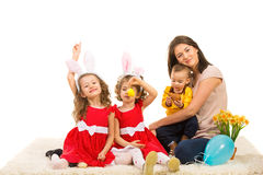 Mother and kids prepare for Easter Stock Photo