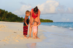 Mother and kids on sea vacation Stock Images