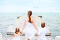 Mother and kids at seaside Stock Photography