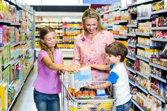 Mother and kids at the supermarket royalty free stock photo
