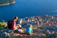 Mother with kids travel in Europe Stock Images