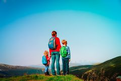 Mother with kids travel hiking in nature. S, mountains, Norway travel stock images