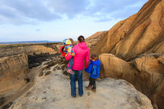 Mother with kids travel in scenic mountains Stock Image