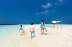 Mother and kids at tropical beach Royalty Free Stock Photography