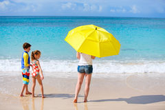 Mother and kids at tropical beach Royalty Free Stock Image