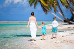 Mother and kids on a tropical island Stock Photography
