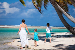 Mother and kids on a tropical island Stock Image