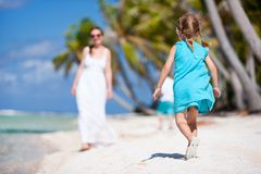 Mother and kids on a tropical vacation Royalty Free Stock Photos