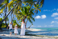 Mother and kids on a tropical vacation Stock Photography