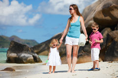 Mother and kids on vacation Stock Photography