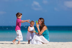 Mother and kids on vacation Royalty Free Stock Images