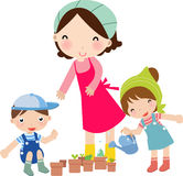Mother and kids watering. Illustration of cute mother and kids watering