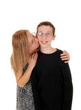 Mother kisses her son. Royalty Free Stock Photo