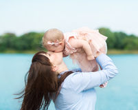 Mother kisses the little daughter. Royalty Free Stock Image