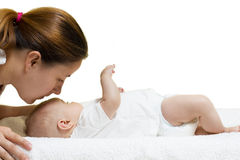 Mother kissing baby Royalty Free Stock Image