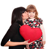 Mother kissing daughter Royalty Free Stock Image