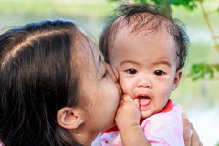 Mother kissing daughter Stock Photos