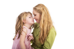 Mother kissing and playing with her lovely daughter Stock Photography