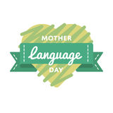Mother language day greeting emblem Stock Image