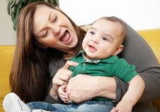 Mother laughs with her child Royalty Free Stock Photo