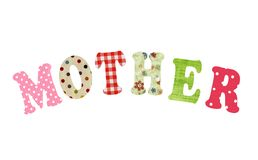Mother- lettering of handmade paper letters Stock Images