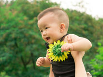 Mother lifting baby up Royalty Free Stock Photos