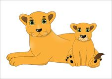 Mother lion and baby lion stock photo