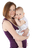 Mother and little baby hugging and smiling Stock Photo