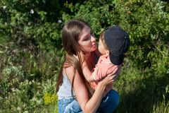 Mother and little boy play park family happiness. Mother and little boy play park happiness stock photos