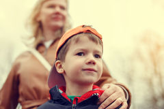 Mother with little boy in vintage style Royalty Free Stock Photos