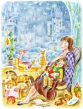 Mother and little daughter. Watercolour/pastel illustration, painted by photographer. Mother sits in a chair with a little daughter, speeping in her lap. The Royalty Free Stock Image