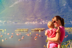 Mother and little daughter in the bay of Stock Image